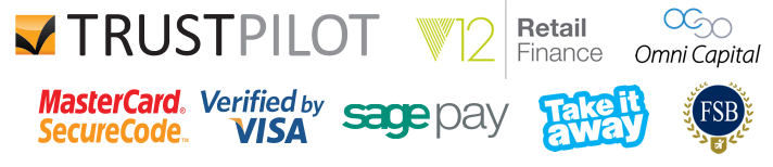 Company logos of organisations we use. Trustpilot, V12 Retail Finance, Omni Capital Retail Finance, Take It Away, FSB, Mastercard, Verified by Visa, SagePay
