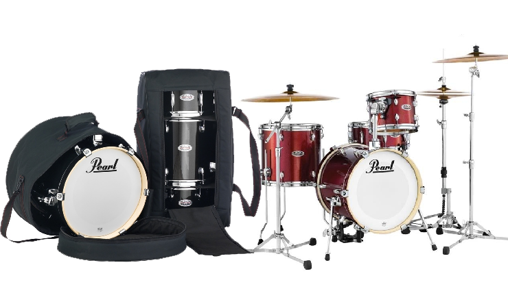 Pearl Midtown 4 Piece Shell Pack With Drum Cases In Black