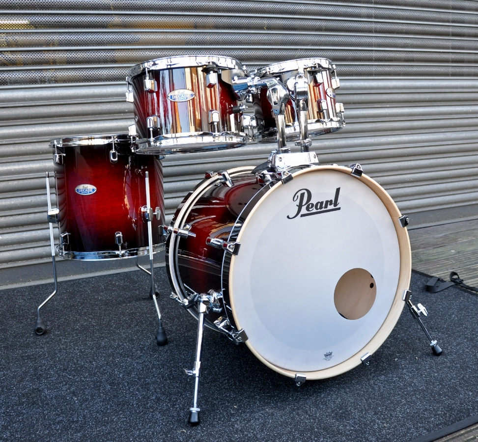 Pearl Decade Shell Pack Fusion in Gloss Deep Red Burst 10, 12, 14, 20 bassdrum