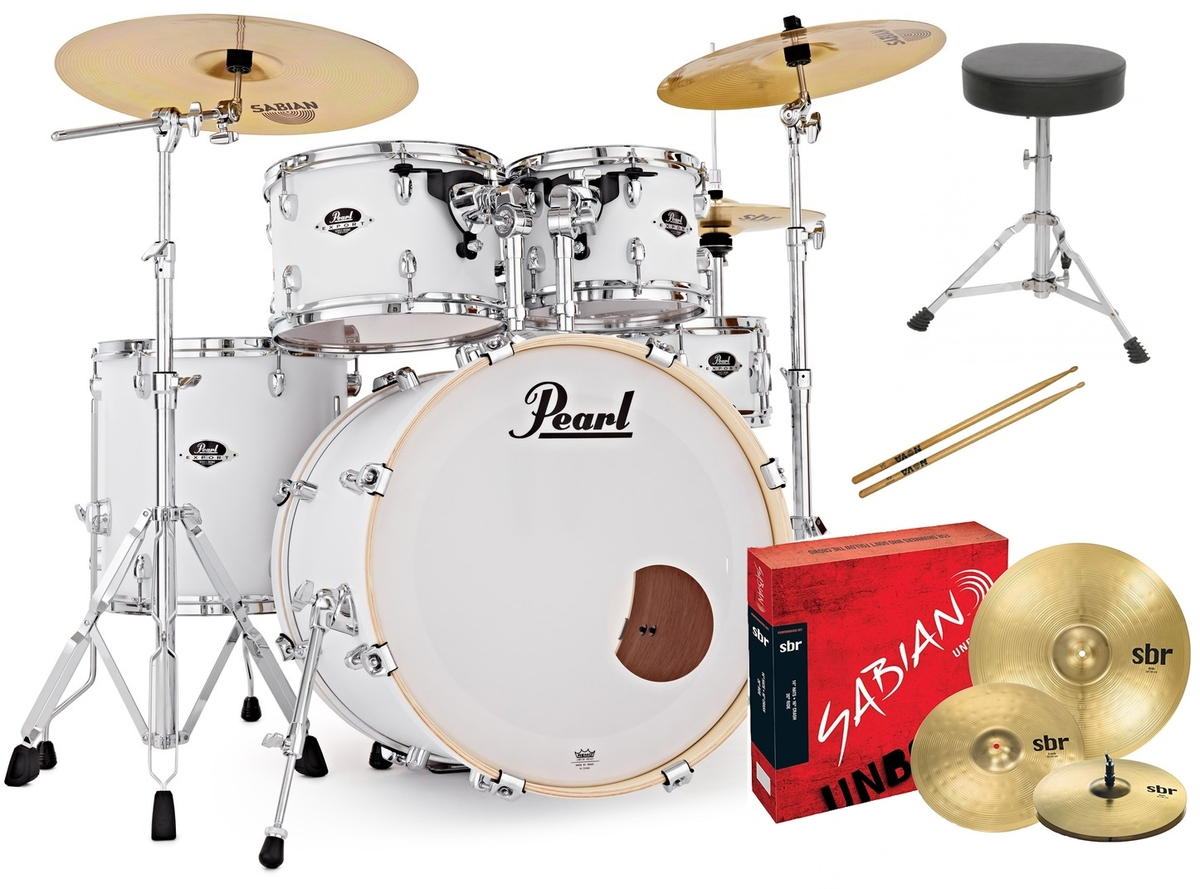 Pearl EXX Export Fusion Drum Kit with Sabian Cymbals + FREE STICKS AND THRONE