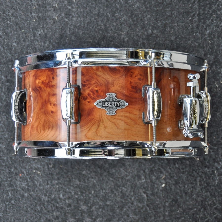 "Liberty Drums 13"" x 6"" Exotic Series Snare Drum in Elm Burr cluster"