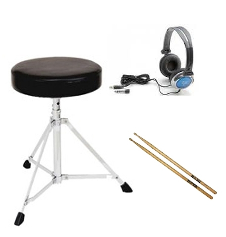Electronic Drums Essentials Pack - (stool - headphones - sticks)