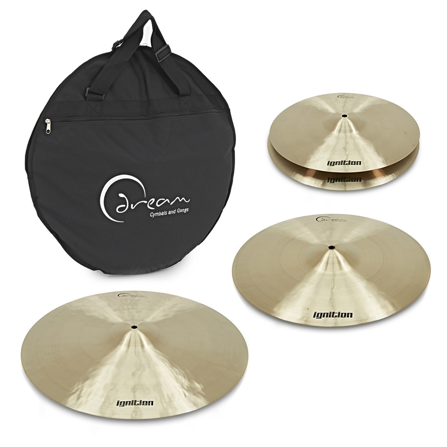 """DREAM IGNITION SERIES 3 PIECE CYMBAL PACK (14"""" HI-HAT CYMBALS, 16"""" CRASH, 20"""" RIDE) + BAG"""