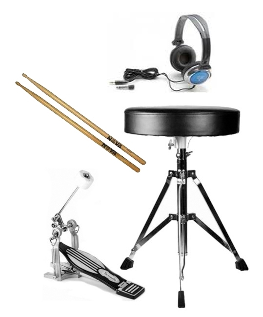 Electronic Drums Essentials Pack (Stool - headphones - sticks - pedal)