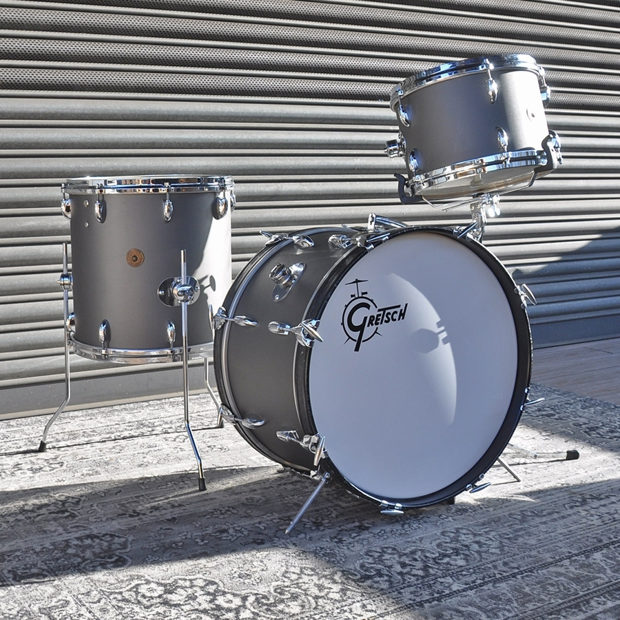 """Gretsch 12"""", 14"""", 20"""" Vintage Roundbadge Shell Pack in Refinished Matte Grey"""