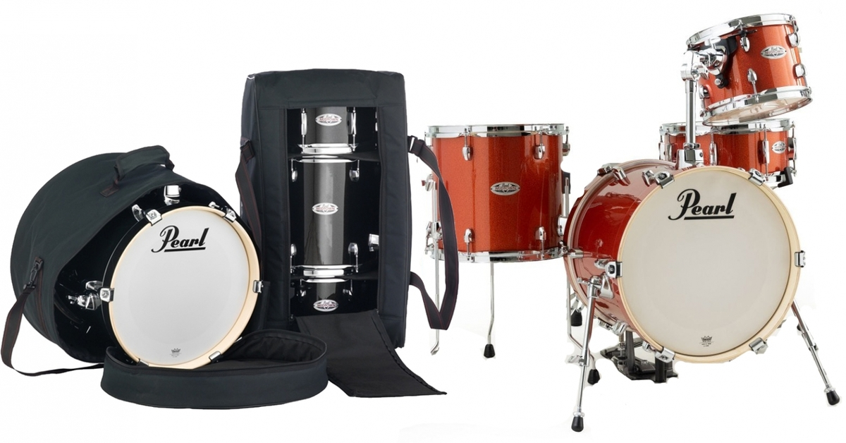 Pearl Midtown 4 Piece Shell Pack in Orange Crush with cases