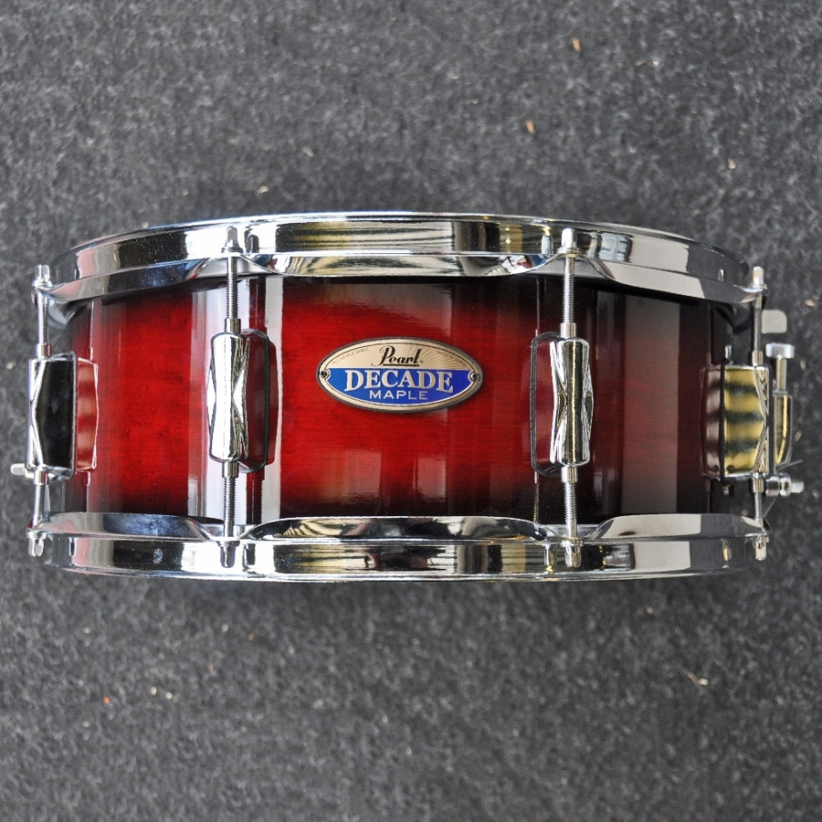 "Pearl 14"" x 5.5"" Decade Maple Snare Drum in Deep Red Gloss finish"