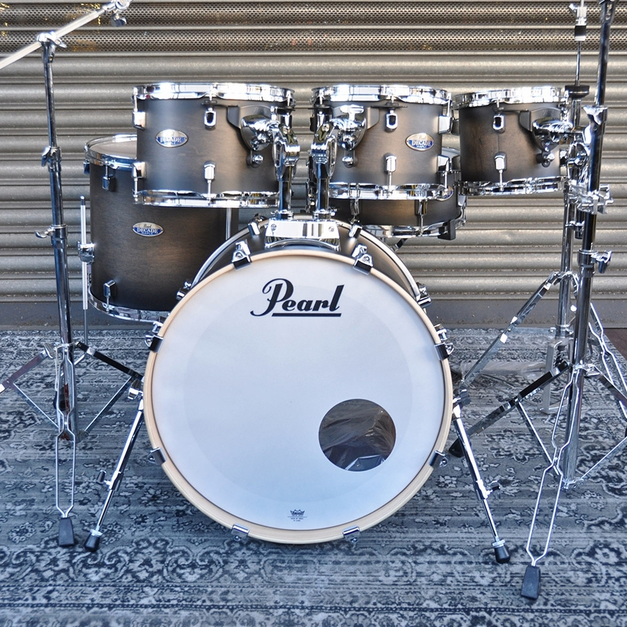 """Pearl 8"""", 10"""", 12"""", 14"""", 20"""" Decade Shell Pack with Snare in Satin Black Burst"""