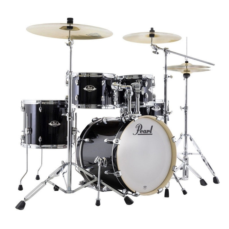 "Pearl EXX Export 18"" Compact Drum Kit in Jet Black with Sabian Cymbals"
