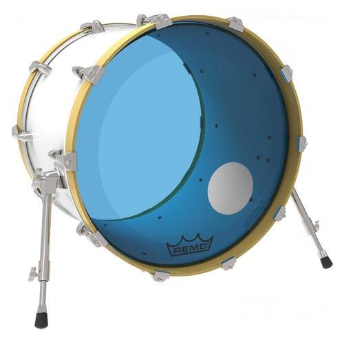 Image 2 - Remo P3 Resonant Colortone Blue Bass Drum Heads, Ported