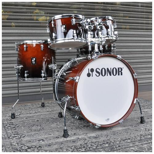 """Image 2 - Sonor 10"""", 12"""", 14"""", 20"""" AQ2 Studio Shell Pack in Brown Fade finish"""