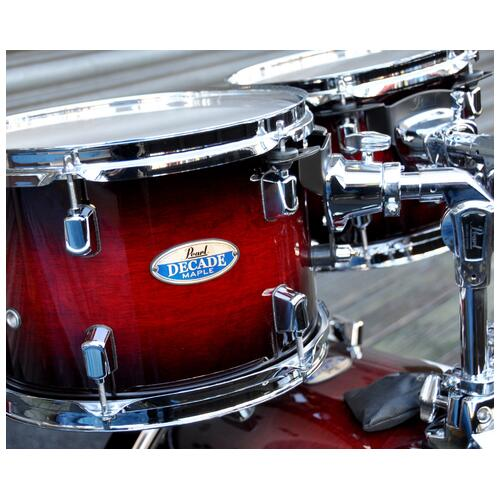 Image 6 - Pearl Decade Shell Pack Fusion in Gloss Deep Red Burst 10, 12, 14, 20 bassdrum