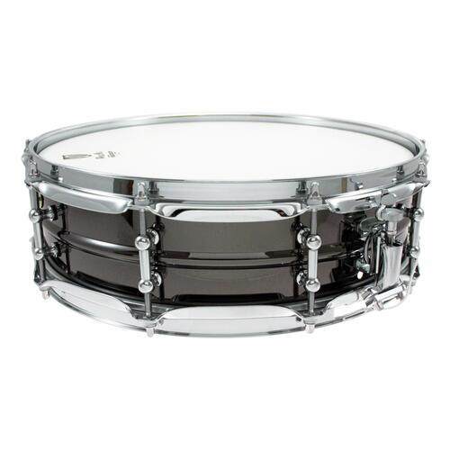 "Image 2 - Worldmax 14""x 4"" Black Brass Snare Drum – Chrome Hardware WMS BK-4014SH"