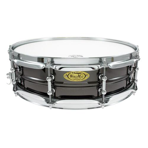 "Worldmax 14""x 4"" Black Brass Snare Drum – Chrome Hardware WMS BK-4014SH"