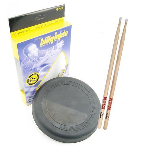 """Billy Hyde 8"""" Practice Pad with Nova 5A sticks"""