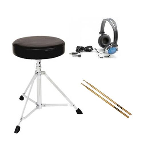 Electronic Drums Essentials Pack - (stool - headphones - sticks)