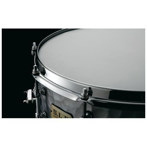 "Image 3 - Tama S.L.P. 14""x 5.5"" Series Vintage Hammered Steel Snare Drum (LST1455H)"