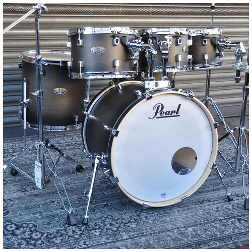 """Image 2 - Pearl 8"""", 10"""", 12"""", 14"""", 20"""" Decade Shell Pack with Snare in Satin Black Burst"""