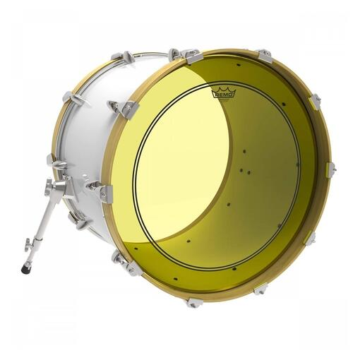 Image 2 - Remo Powerstroke 3 Colortone Yellow Bass Drum Heads