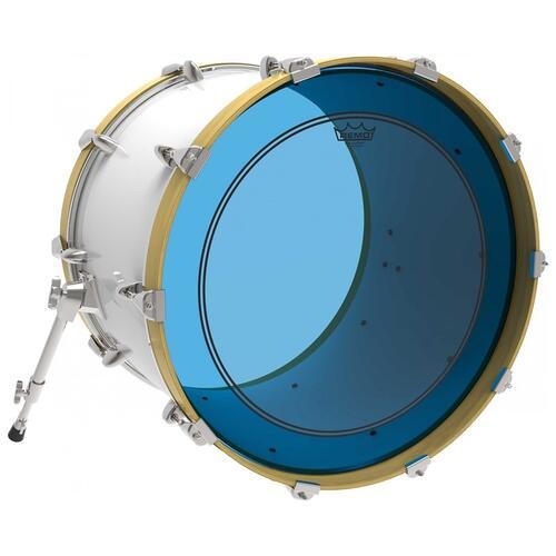 Image 2 - Remo Powerstroke 3 Colortone Blue Bass Drum Heads