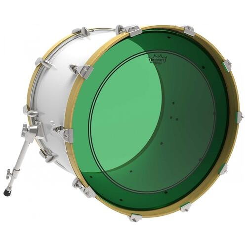 Image 2 - Remo Powerstroke 3 Colortone Green Bass Drum Heads