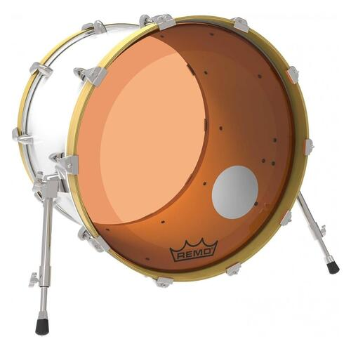 Image 2 - Remo P3 Resonant Colortone Orange Bass Drum Heads, Ported