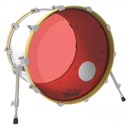 Image 2 - Remo P3 Resonant Colortone Red Bass Drum Heads, Ported