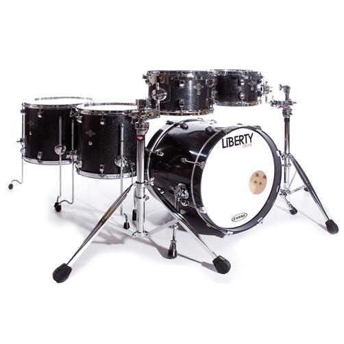 Liberty 6 Pc Black Sparkle 10x7, 12x8,14x14,16x14, 22x17 With Snare And Rims Mounts