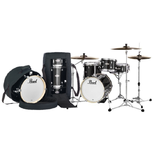 Pearl Midtown 4 Piece Shell Pack with Drum Cases in Black Gold Sparkle