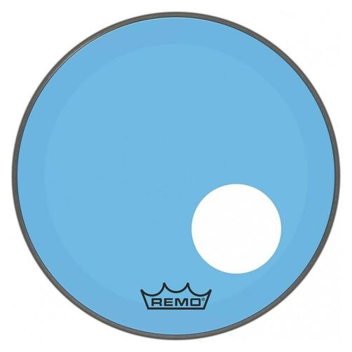 Remo P3 Resonant Colortone Blue Bass Drum Heads, Ported