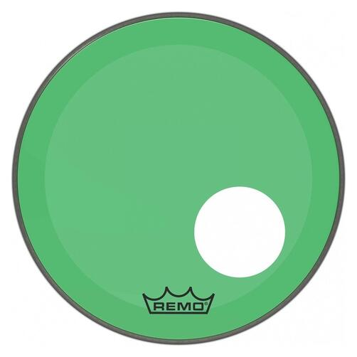 Remo P3 Resonant Colortone Green Bass Drum Heads, Ported