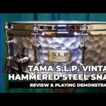 """Video thumbnail 0 - Tama S.L.P. 14""""x 5.5"""" Series Vintage Hammered Steel Snare Drum (LST1455H)"""